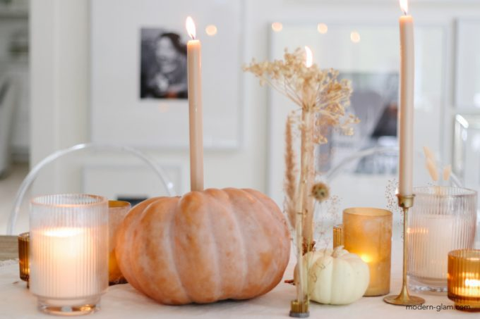 diy candle holders using big pumpkin