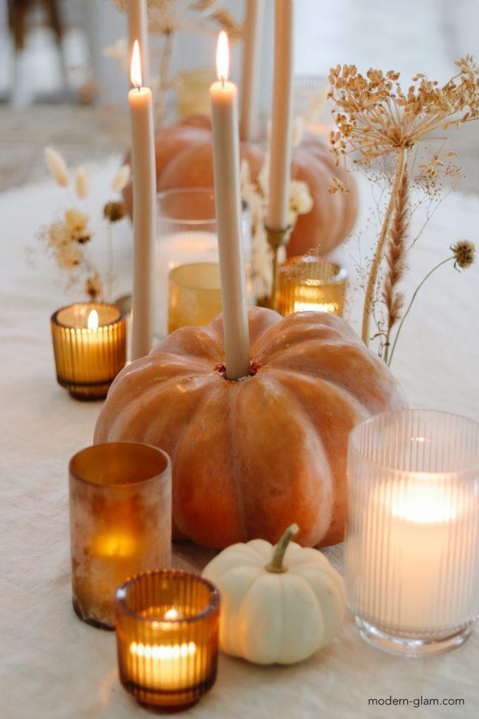 diy heirloom pumpkin candle holders