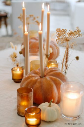 how to make pumpkin candle holders