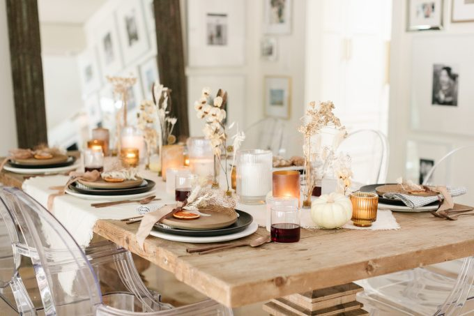 brown thanksgiving tablescape