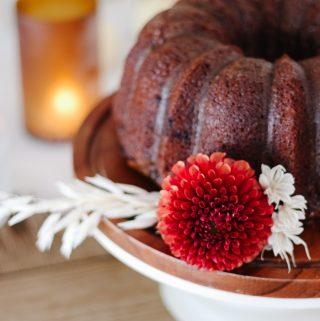 easy pumpkin spice bundt cake with coffee glaze